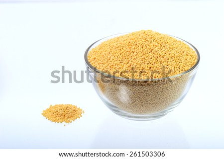 yellow mustard seeds in glass bowl with heap isolated on white background  - stock photo