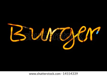 """Yellow Neon Sign Which Reads """"Burger"""" - stock photo"""