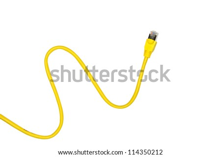 Yellow Network Cable with molded RJ45 plug isolated against white background. - stock photo