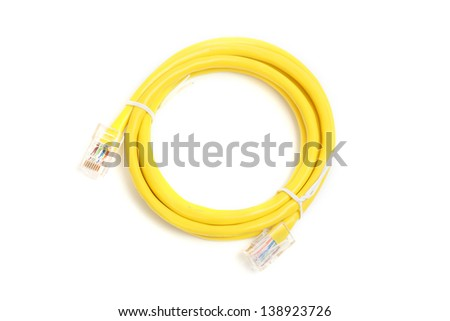 yellow network lan cable isolated on white - stock photo