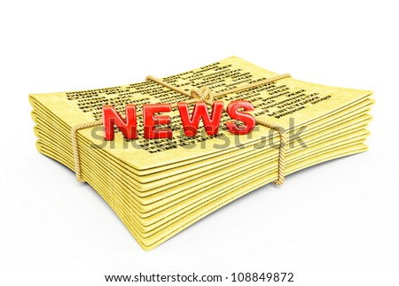 yellow newspaper isolated on a white background - stock photo