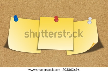 Yellow note and push pin isolated on cork board ready for your text. - stock photo