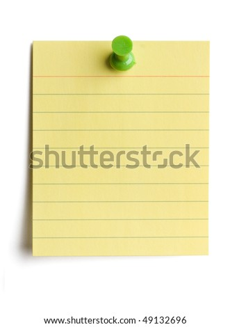 Yellow note pad pinned on white background with soft shadow.