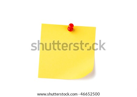 yellow note paper with red pin - stock photo