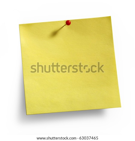 Yellow Noteand  red pushpin isolated on white background, clipping path included - stock photo