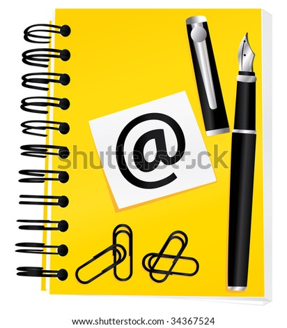 Yellow notebook for contact or blog concept. Illustration isolated on white background. - stock photo