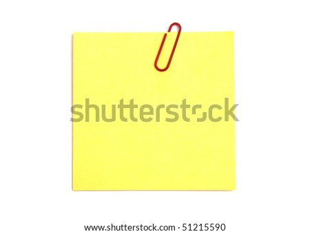 Yellow notepaper isolated on white background