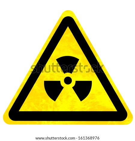 yellow nuclear sign isolated on a solid white background - stock photo