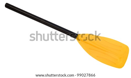 Yellow oar (paddle), isolated on white - stock photo