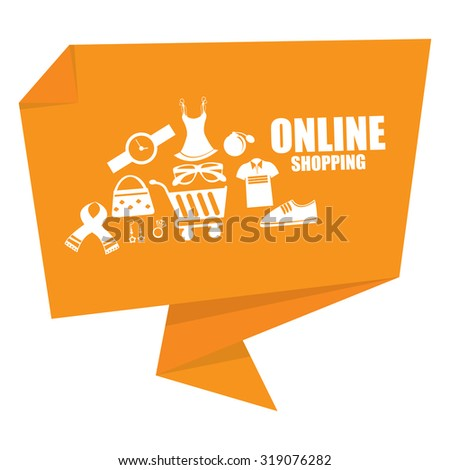 Yellow Online Shopping Origami Speech Bubble or Speech Balloon Infographics Sticker, Label, Sign or Icon Isolated on White Background - stock photo