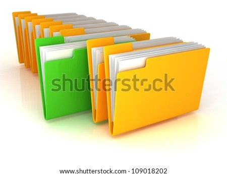 yellow open folders and one green with documents