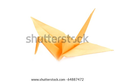 Yellow Origami Crane on a white background - stock photo