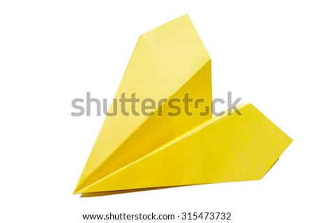 Yellow origami plane on a white background. - stock photo