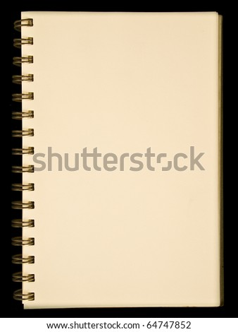 Yellow page of spiral notebook isolated on black background