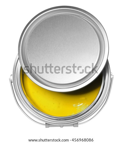 Yellow paint can and cover, isolated on white background