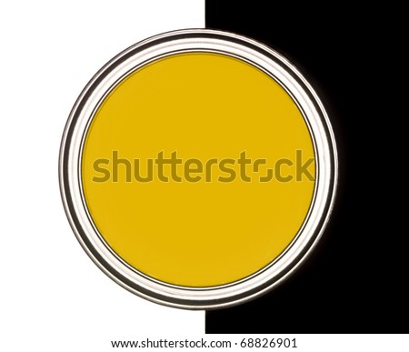 Yellow Paint can on black and white background - stock photo