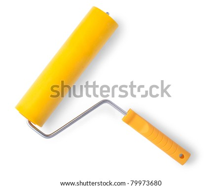 Yellow paint roller, isolated on white background. With shadow
