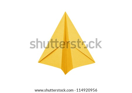 Yellow Paper aircraft, Paper Plane on a white background, - stock photo