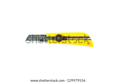 Yellow paper cutter isolated on white background .