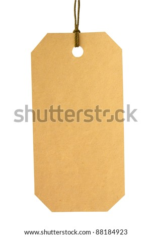 yellow paper label on white gradient background - stock photo