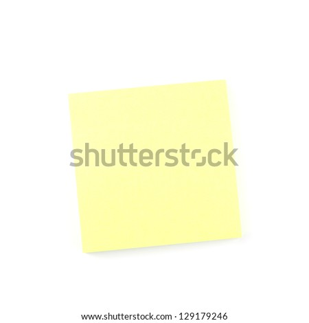Yellow paper note isolated on white