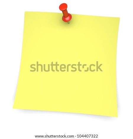 Yellow paper note with pushpin. 3d image