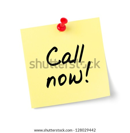 Yellow paper note with text Call now - stock photo