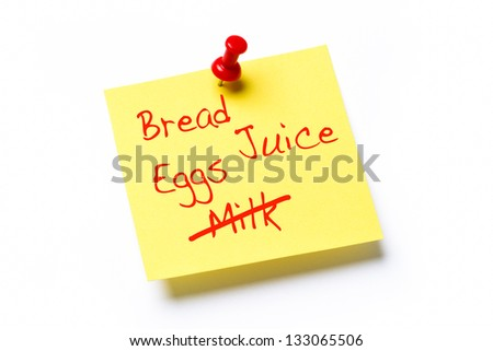 Yellow paper note with the words Bread, Juice, Eggs and Milk, isolated on a white background