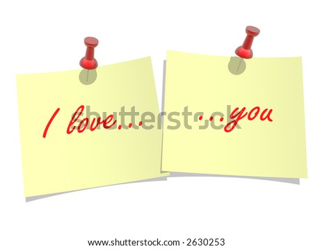 "Yellow paper  pinned to a white background  with inscription ""I love you"""