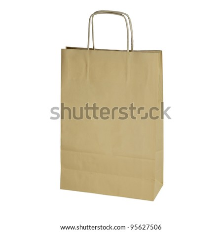 yellow paper shopping bag isolated on white