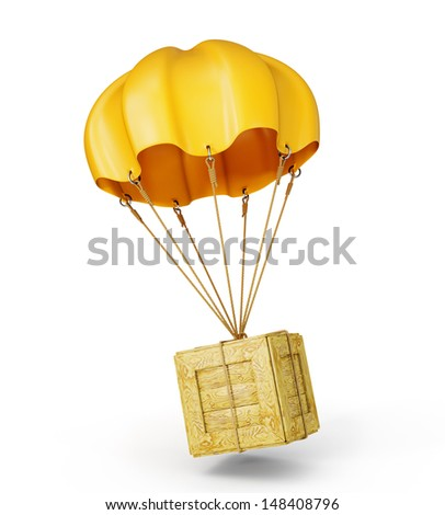 yellow parachute with wooden box on a white - stock photo