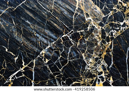 yellow patterned of dark gray marble background for design, abstract nature texture.