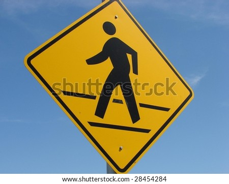 Yellow Pedestrian Sign - stock photo