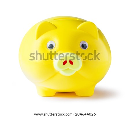 Yellow piggy bank on white background with clipping path - stock photo