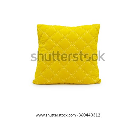 yellow pillow isolated on white - stock photo