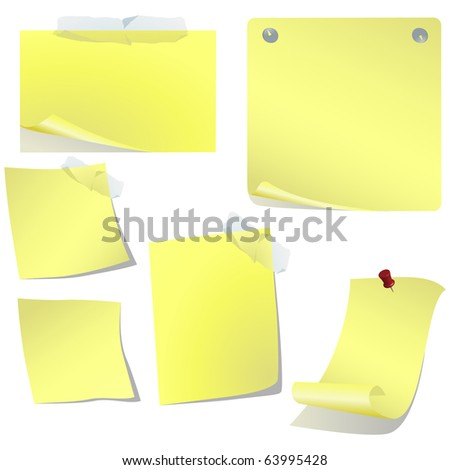 Yellow pined paper set isolated on white