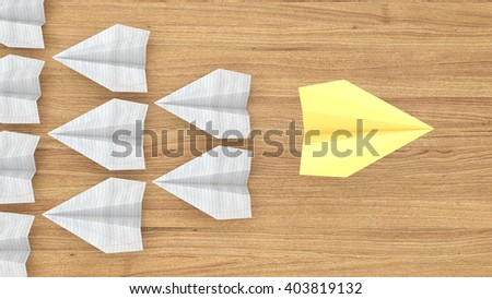 Yellow plane is a leader among the other paper airplanes over a wooden table,the 3D illustration concept of leadership - stock photo
