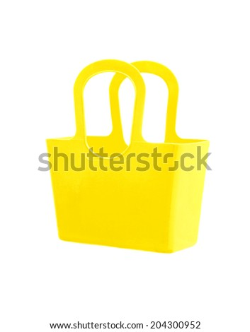Yellow plastic bag isolated on white background. - stock photo