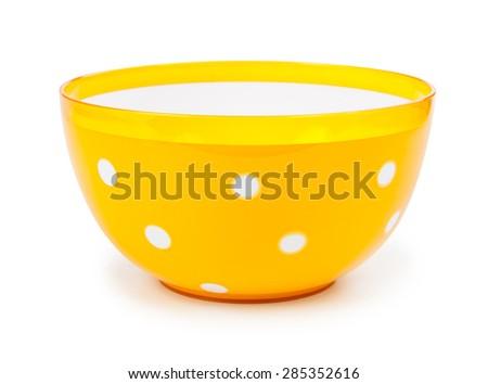 yellow plastic bowl isolated on white background. - stock photo