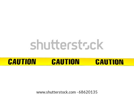 "Yellow plastic ""Caution"" tape isolated on white background, lower third position - stock photo"