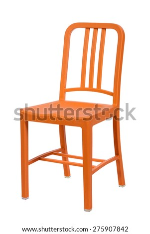 yellow plastic chair isolated on a white background - stock photo