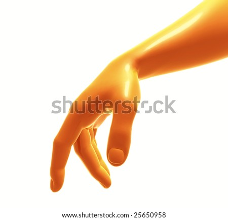Yellow plastic or gold hand pose like walking