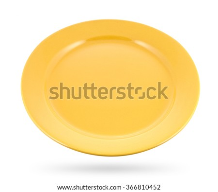 yellow plate isolated on white background - stock photo