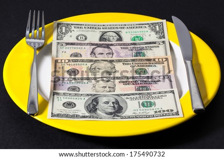 Yellow plate with US dollars