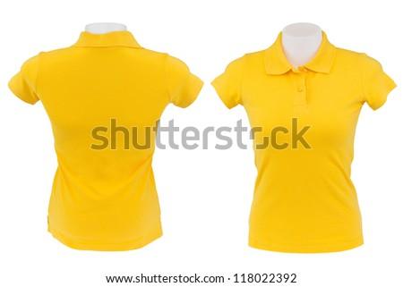yellow polo shirt on white background - stock photo