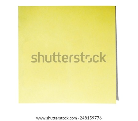 yellow post it note isolated on white - stock photo