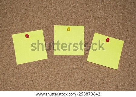 Yellow Post it Notes on a Cork Board