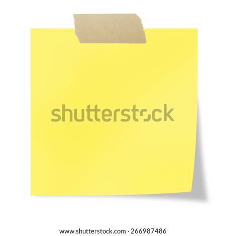 Yellow  post it with tape on a white background  - stock photo