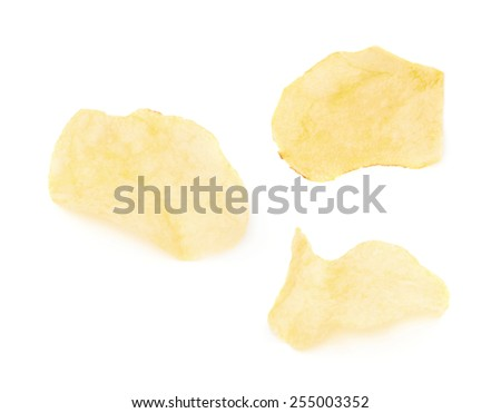 Yellow potato chips isolated over the white background, set of three different images - stock photo