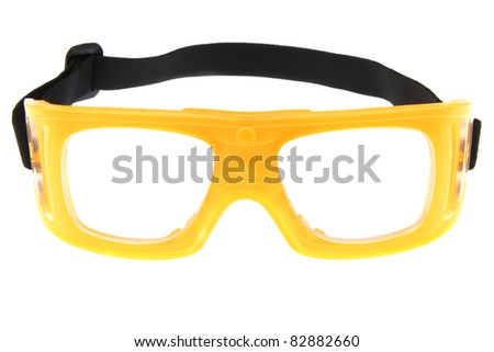 yellow protect eye goggles - stock photo